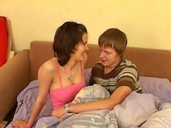 Hot Brunette girl gives a blowjob then gets fucked at accommodation billet