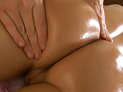 OMG, just take a look at their way oiled booty and you will understand why our tricky masseur can't hold his dick in pants. This blonde bitch is so pretty that he would like to fuck their way fro great pleasure! And our dirty babe is already opening their way vitalized mouth for his huge hunger dick, while their way pussy is waiting and getting wet...