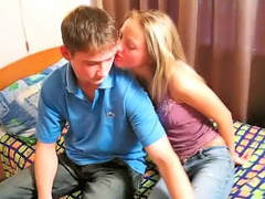 Amazing blonde teenie suckes with an increment of gets fucked at the end of one's tether dirty baffle