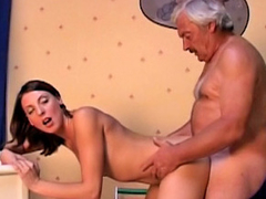 Ancient dirty guy screwing amateur hot brunette girl at room