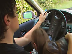 Bush-league teen having it away in car