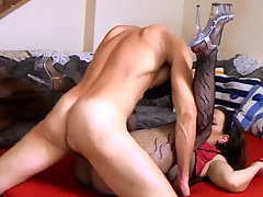 Sweet hawt a-hole dark brown amateur drilled on the sofa