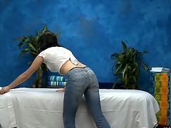 Hawt eighteen domain old chick gets fucked hard from behind by her massage therapist