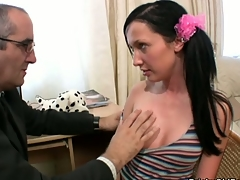 Gal is delighting teacher with her skillful mouth