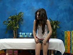 Sexy eighteen year old darksome brown slut gets fucked hard by her massage therapist!
