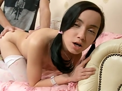 Hottie rides large subrigid dick after historic oral-stimulation.