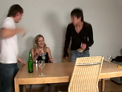 Delightful darling is sharing her twat with two horny guys