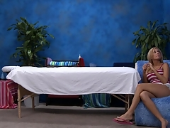 Low-spirited eighteen year old sweetheart gets fucked hard from behind by her massage therapist