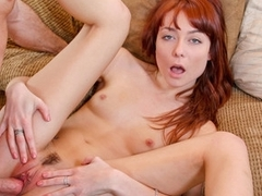 Sexy Redhead calls over a feedback fuck jibe finding a text